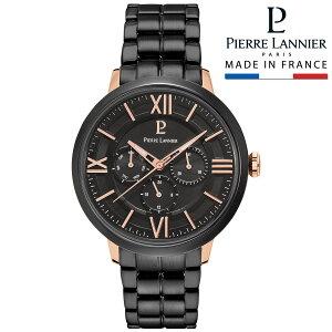 腕時計 メンズ ブランド ピエールラニエ マルチファンクション メタルベルト ピンクゴールド ブラック 防水 ベルト 秒針p257g439 お祝い