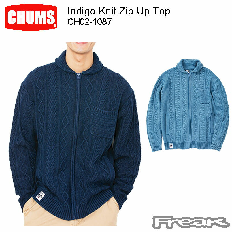 トップス, ニット・セーター CHUMS CH02-1087Indigo Knit Zip Up Top ()