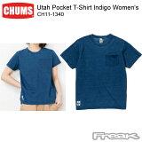 CHUMS チャムス CH11-1340<Utah Pocket T-Shirt Indigo Women's ユタポケットTシャツインディゴ(Tシャツ)>※取り寄せ品
