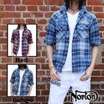 【Norton(ノートン)】ウォッシュブラストインディゴチェック5分袖シャツ|FREE-GUY(フリーガイ)