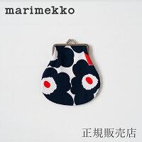 マリメッコ がま口ポーチ ミニウニッコ ネイビー×オレンジ(marimekko)Pieni Kukkaro(小)