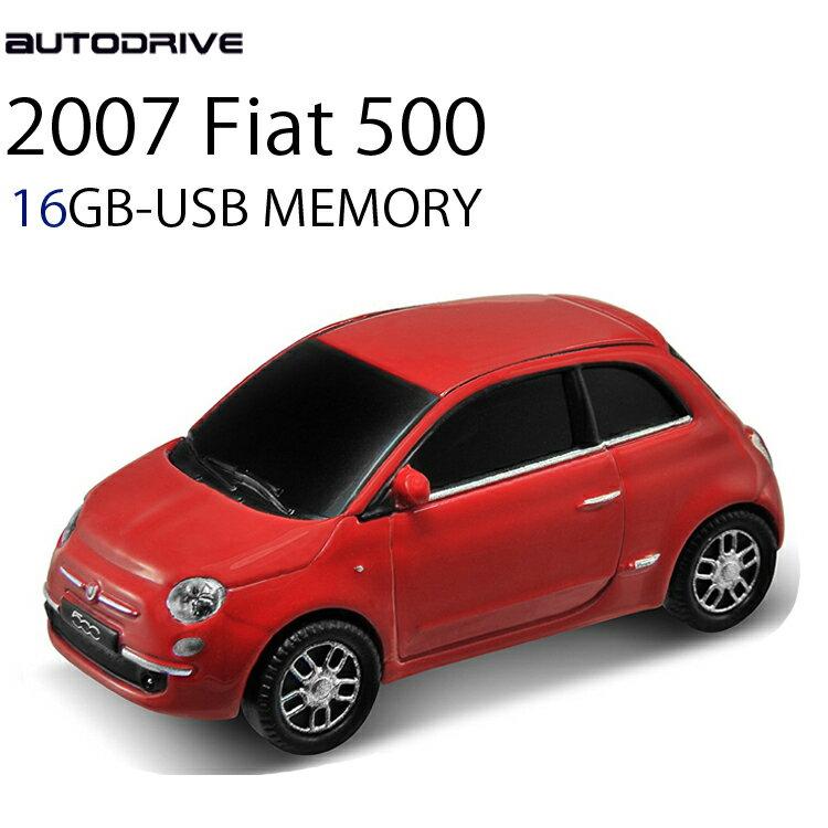 外付けドライブ・ストレージ, USBメモリ・フラッシュドライブ AUTODRIVE 16GB 2007FIAT500 RED USB