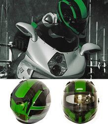 【RIDEZ】ライズインナーバイザーフルフェイスヘルメットFIRSTFR-1グリーン