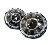 汎用7インチLEDプロジェクターヘッドライトデイライトウィンカー機能付きHiLo切り替え2個セットイカリングラングラーJKJL