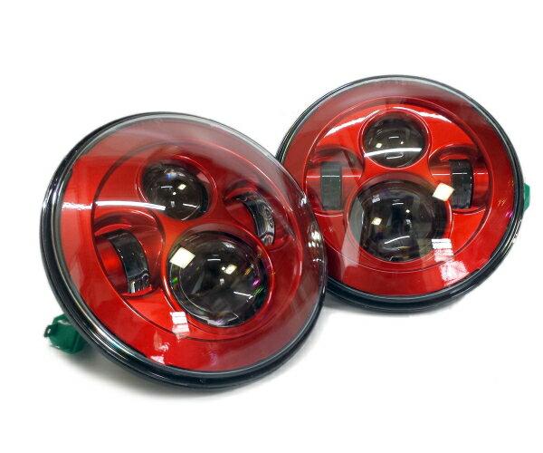汎用7インチ LEDプロジェクターヘッドライト 2個セット JEEP JKラングラー JA11 JA22 ジムニー SJ ハマーH2 ランクル70 レッドアイ画像