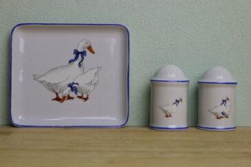 アンティークコショウ 調味料アヒル 白 陶器 皿 お皿三点セット