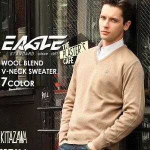 【送料無料】 セーター Vネック 無地 メンズ ニット 大きいサイズ 日本製 日本規格 30001|ブランド EAGLE STANDARD イーグル|ニット ウール