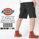 Dickies ディッキーズ ハーフパンツ メンズ 大きいサイズ [Dickies ディッキーズ ハーフパンツ メンズ ひざ下 ショートパンツ 短パン チェックショーツ チェック柄 ブラック アメカジ ブランド 大きい XL XXL LL 2L 3L] (USAモデル) (wr984)