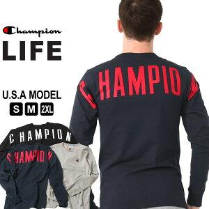 【送料無料】 チャンピオン Tシャツ 長袖 メンズ 大きいサイズ USAモデル|ブランド ロンT 長袖Tシャツ ロゴ アメカジ|Champion