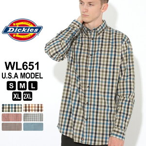 【送料無料】 ディッキーズ シャツ 長袖 チェック柄 WL651 メンズ ボタンダウンシャツ|大きいサイズ USAモデル Dickies|長袖シャツ 【COP】