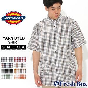 ディッキーズ シャツ 半袖 レギュラーカラー ポケット チェック柄 メンズ 大きいサイズ WS525 USAモデル ブランド Dickies チェックシャツ アメカジ