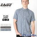 【送料無料】 シャツ 半袖 ボタンダウン ガーゼ ローン チェック柄 ポケット メンズ 大きいサイズ 日本規格 ブランド EAGLE STANDARD イーグル 半袖シャツ カジュアル ワイシャツ