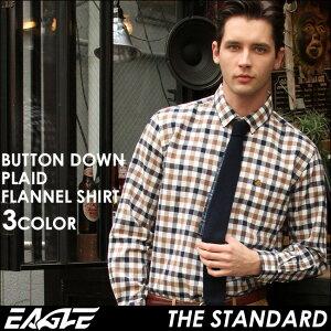 イーグル ブランド チェック カジュアル ボタンダウンシャツ ワイシャツ コットン