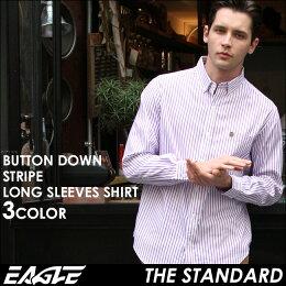 送料無料EAGLETHESTANDARDイーグルシャツブランド長袖シャツメンズストライプシャツ[日本規格](eagle-89025)ストライプシャツ長袖シャツメンズカジュアルシャツボタンダウンシャツワイシャツYシャツ大きいサイズコットンシャツメンズシャツ