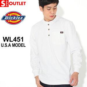 アウトレット 返品・交換・キャンセル不可 ディッキーズ Tシャツ 長袖 ヘンリーネック WL451 無地 メンズ 大きいサイズ Dickies 長袖Tシャツ ロンT (outlet)