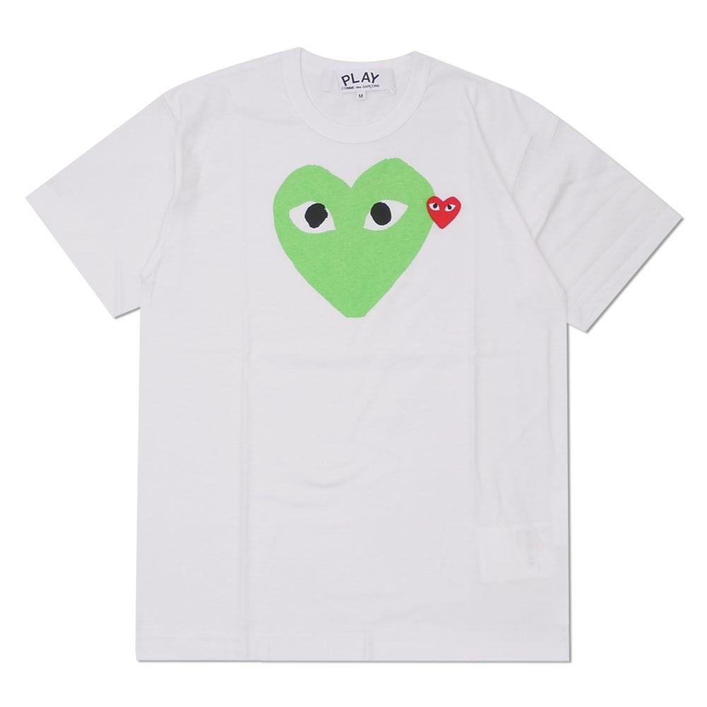 トップス, Tシャツ・カットソー  PLAY COMME des GARCONS MENS COLOR HEART PRINT TEE T WHITExGREEN