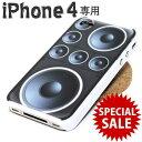 SALE iPhone4 ケース スピーカープリント ハードカバー◎ブラック[4643839]の商品画像