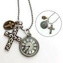 ネックレス ロングチェーン 十字架クロス アンティーク時計◎アンティークシルバー[5628775]