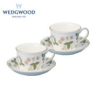 ウェッジウッド ワイルドストロベリー ペアティーカップ&ソーサー デルフィ (1053377 WST PCSD2) 【ブランド/洋食器/ティーカップ/コーヒーカップ/ギフト】