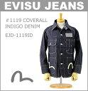 ■ EVISU (エヴィス ジーンズ)(EJD-1119ID) #1119 カバーオール (インディゴ デニム)(ノンウォッシュ/リジッド/カモメ/ペイント/ジャケット/日本製/エビス)