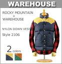 ■ WAREHOUSE × ROCKY MOUNTAIN (2106)ウエアハウス×ロッキーマウンテン ナイロン ダウンベスト 全2色(日本製 ベスト レザーヨーク アメカジ メンズ XL)