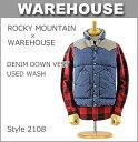 ■ WAREHOUSE × ROCKY MOUNTAIN (2108)ウエアハウス×ロッキーマウンテン デニム ダウンベスト ユーズドウォッシュ(日本製 デニム ベスト レザーヨーク アメカジ メンズ XL)