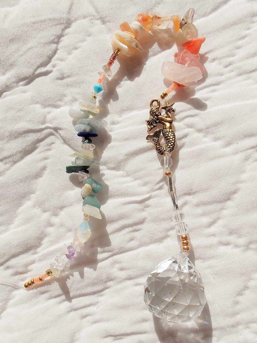 Mermaid jewelry クリスタルサンキャッチャー 窓辺や玄関にキラキラ光るハッピーアイテムカラフル天然石とマーメイドチャーム天然石チャーム オリジナル ハンドメイド ハワイアンジュエリー画像
