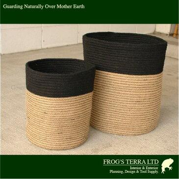 Rib Basket・L・B5238(直径36.5cm×H40.5cm)(底穴なし)(植物繊維/ジュート)(植木鉢/鉢カバー)(プランター/園芸/寄せ植え/ポット)