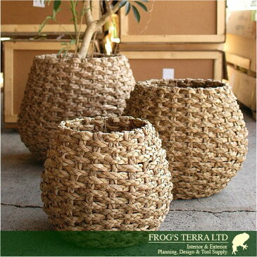 Lush Basket・L・B8212(直径55cm×H50cm)(底穴なし)(植物繊維)(植木鉢/鉢カバー)(プランター/園芸/寄せ植え/ポット)
