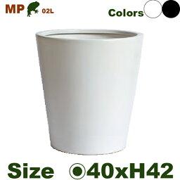 丸鉢40・MP02LWH/B(直径40cm×H42cm)(底穴あり)(陶器製)(イコミ製法)(軽量プランター/ポット)(観葉鉢/園芸/寄せ植え)