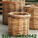 Rattan Basket・S・B1280(直径45cm×H42cm)(底穴なし)(ラタン/藤)(植木鉢/鉢カバー)(プランター/園芸/寄せ植え/ポット)