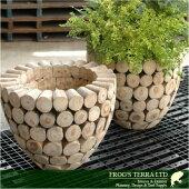 鉢カバー・木製・チークウッドプランターW4706(直径47cm×H44cm)(底穴なし)(プランター/植木鉢/鉢/ポット)(寄せ植え/観葉植物用)