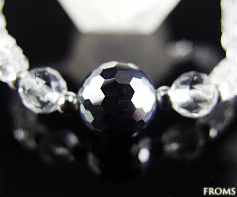 健康と美容にミラーカットAAAAAテラヘルツ鉱石(高純度ケイ素)成育光線美容鉱石入り水晶ブレスレット【50%OFF】