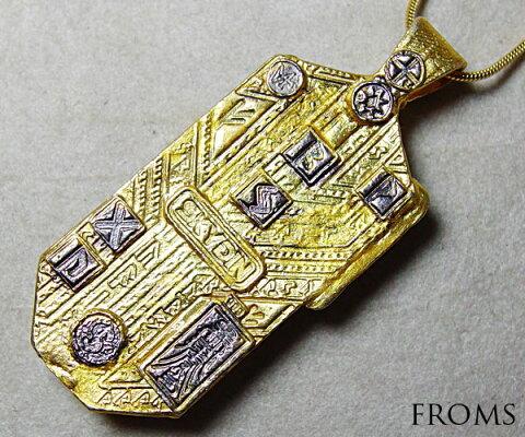 フェナカイト超能力進化の護符SKYDINZEALペンダント・天使の羽、14の古代の刻印K18Silver