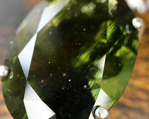 宝飾質モルダバイトオーバルペンダントトップ8x6mm【ヘブン&アース社50%OFF】f-§
