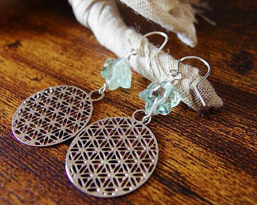 古代神聖幾何学フラワーオブライフマルカバスター水晶フローライトピアスk14goldfildポスト/Silver925ポスト【メール便送料無料】am