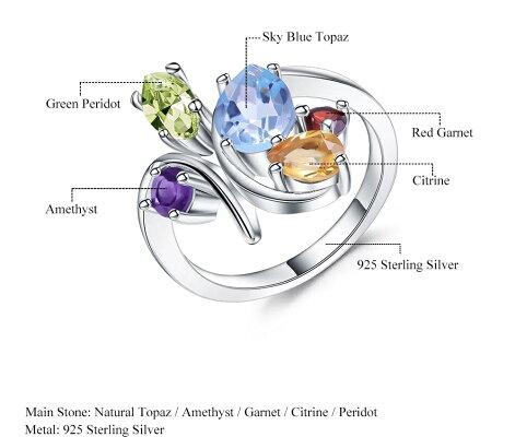 宝石質ブルートパーズペリドットシトリンアメジストガーネット5ストーンリング指輪Silver925【送料無料/サイズ変更無料】レディースポイント10倍★12