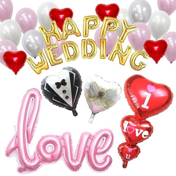 タキシード ウエディングドレス バルーン ハート風船 結婚式 二次会 パーティー サプライズ お祝い レッド 風船 バルーン
