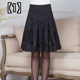 (予約販売5〜8営業日での発送)秋冬ショートスカート、マザードレス、スカート、中年女性ハイウエスト、Aライン細身大スカート、スリムダンススカート