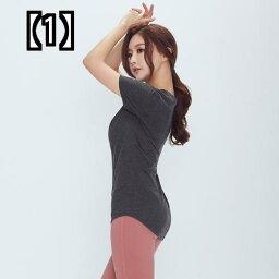 (予約販売5〜8営業日での発送)韓国の新しいスリムで薄い快適なヨガウェア半袖Tシャツミドル丈クロスバットスポーツフィットネス速乾性トップ