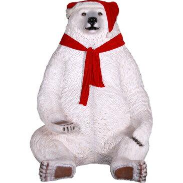 FRPアニマルオブジェ 巨大な白クマのサンタ 置物 動物 クリスマス トナカイ 熊 くま 動物園 店舗 イベント ディスプレイ 実物大 等身大 リアル 【whlny】