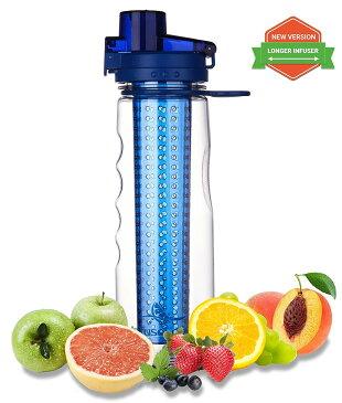 インフューズフルーツ インフューズドウォーターボトル(ブルー) 750ml BPAフリー/ クーラーバッグ付属 水漏れ防止ロック付き スポーツ アウトドア デトックスウォーター FDA (米国食品医薬品局)認証トライタン