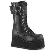 DEMONIA【取り寄せ】レースアップベルトミッドカーフ厚底ロングブーツ/品番:PETROL-150/PETROL150/9cmヒール/ゴシック/原宿系/フェティッシュ/厚底靴/厚底シューズ/大きいサイズ/靴/ユニセックス/フェイクレザーブラック/黒