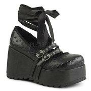 デモニア・品番:SCENE-20/レースリボンメリージェーンパンプス/ブラック/黒/美脚/厚底/ロック/ゴシック/ロリータ/ゴスロリ/厚底靴/ケラ/KERA/大きいサイズ/フェティッシュ