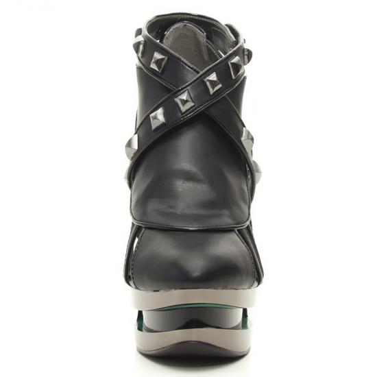 hades(ヘイディーズ)【取り寄せ】hadesfootwear・品番:KRACE/クレイス/スタッズ厚底サンダル/ジョーズヒール/ブラック/黒