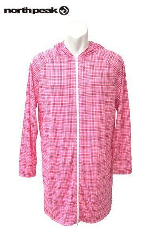 ノースピークNORTH PEAK 男女兼用スノーボードロング丈(トールサイズ)パーカー「LONG PARKA」ピンク/ホワイト