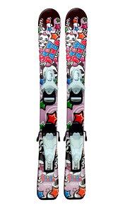 '19キッズ・ジュニア初心者セット2点セットスキー「スノーパンダ」ピンク70cm、80cm、90cm+金具【全国送料無料】
