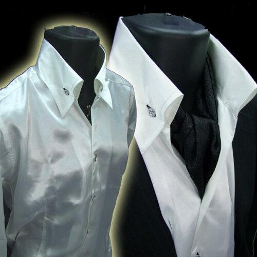 イタリアン衿メンズ ドレスシャツ ホスト系*サテン&キラキラ釦 白ホワイト【あ...