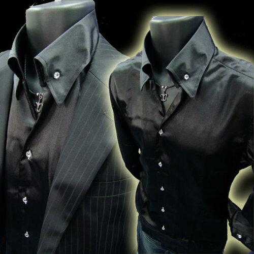イタリアン衿メンズ ドレスシャツ ホスト系*サテン&キラキラ釦 黒ブラック【あ...