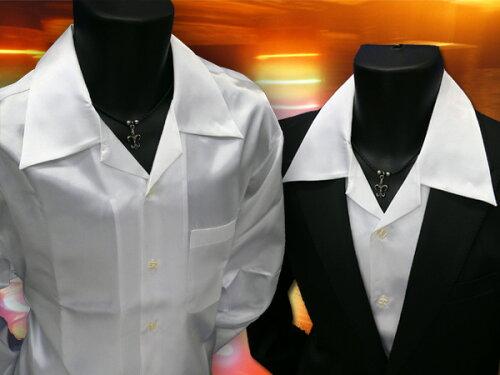 スタッフ一押し サテン オープンシャツ ドレスシャツ*白 ホスト.イケメン.ちょいワル 【あす楽対...
